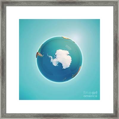 South Pole 3d Render Planet Earth Framed Print