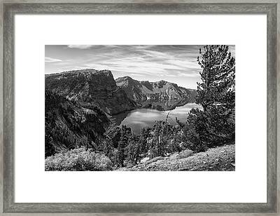 South Rim Of Crater Lake B W Framed Print by Frank Wilson