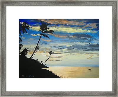 Framed Print featuring the painting South Sea Sunset by Norm Starks