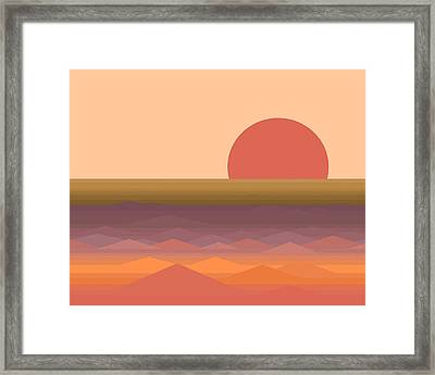 Framed Print featuring the digital art South Seas Abstract Sunrise by Val Arie