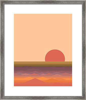 Framed Print featuring the digital art South Seas Abstract Sunrise - Vertical by Val Arie