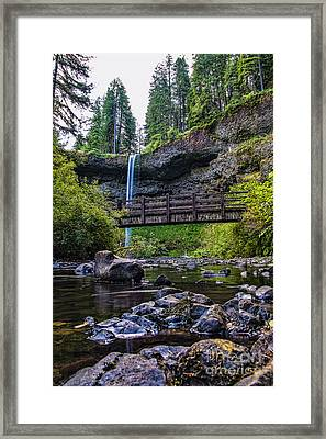 South Silver Falls With Bridge Framed Print by Darcy Michaelchuk