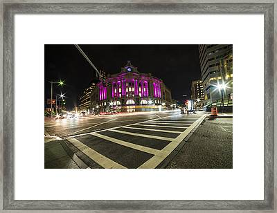 South Station Boston Ma Movement In The Night Framed Print by Toby McGuire