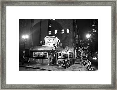 South Street Diner Shahow Of The Cup Boston Ma Black And White Framed Print