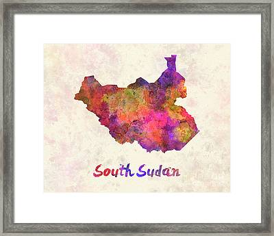 South Sudan In Watercolor Framed Print by Pablo Romero
