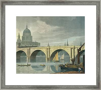 South West View Of St Pauls Cathedral And Blackfriars Bridge Framed Print by George Fennel Robson