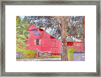 Southall Road Red Barn Color Sketch Framed Print