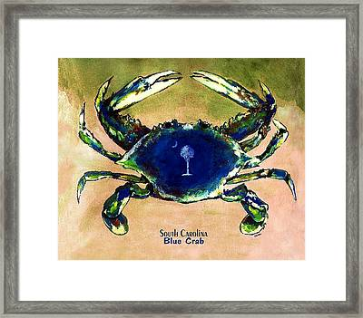 Southcarolina Blue Crab Framed Print by Eddie Glass