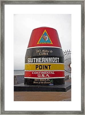 Southermost Point Of U.s.a. Buoy Marker Framed Print by John Stephens