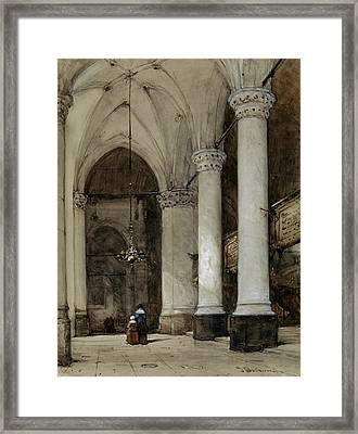 Southern Aisle Grote Of St. James In The Hague Framed Print