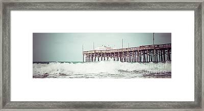 Southern California Pier Retro Panorama Photo Framed Print by Paul Velgos