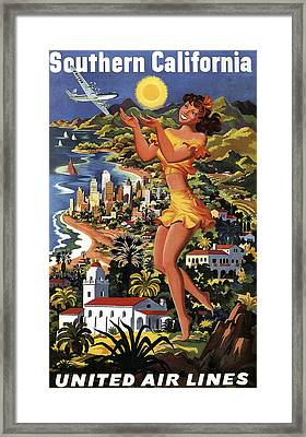 Southern California Vintage Travel 1950's Framed Print