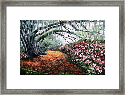 Framed Print featuring the painting Southern Charm Oak And Azalea by Patricia L Davidson