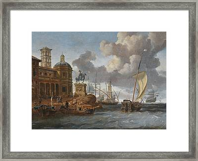 Southern Seaport With An Equestrian Monument Framed Print by Celestial Images