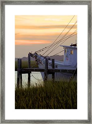 Southern Shrimp Boat Sunset Framed Print