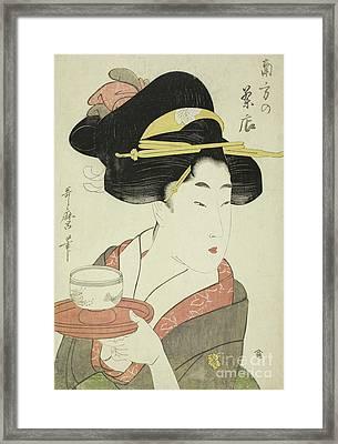 Southern Teahouse Framed Print by Kitagawa Utamaro