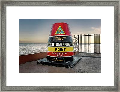 Southernmost Point Key West At Seven In The Morning   -   Southernmostpoint121322 Framed Print by Frank J Benz