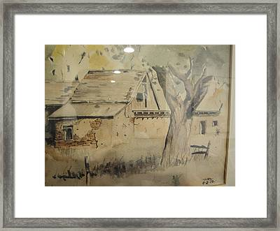 Framed Print featuring the painting Southland Adobe Barn by Steven Holder