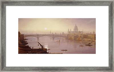 Southwark Bridge And St. Paul's Cathedral From London Bridge  Evening Framed Print