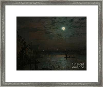 Southwark Bridge By Moonlight Framed Print