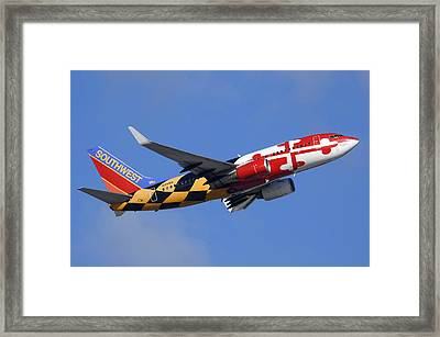 Southwest Airlines Boeing 737-7h4 N214wn Maryland One Phoenix Sky Harbor December 23 2010 Framed Print