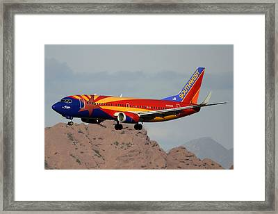 Southwest Boeing 737-3h4 N383sw Arizona Phoenix Sky Harbor December 20 2015  Framed Print by Brian Lockett