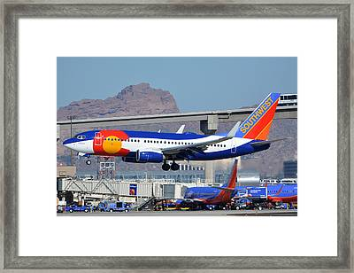 Southwest Boeing 737-7h4 N230wn Colorado One Phoenix Sky Harbor January 24 2016 Framed Print by Brian Lockett