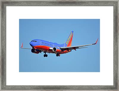 Southwest Boeing 737-7h4 N238wn Phoenix Sky Harbor January 17 2016 Framed Print by Brian Lockett