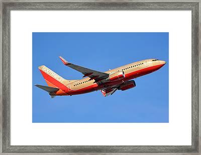 Southwest Boeing 737-7h4 N792sw Retro Gold Phoenix Sky Harbor January 21 2016 Framed Print by Brian Lockett