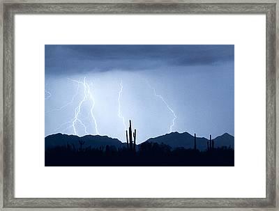 Southwest Desert Lightning Blues Framed Print by James BO  Insogna