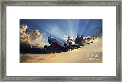 Southwest Dramatic Rays Of Light Framed Print