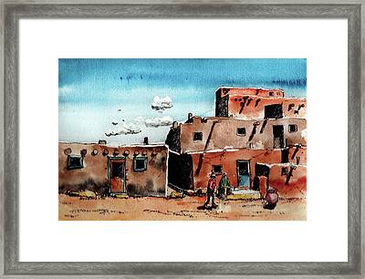 Framed Print featuring the painting Southwest Homes by Terry Banderas