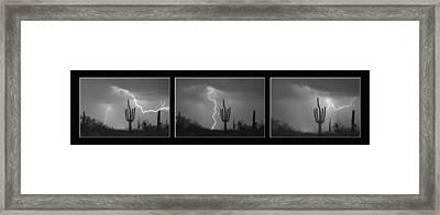 Southwest Saguaro Cactus Desert Storm Panorama Bw Framed Print by James BO Insogna
