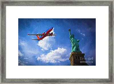 Southwest Salutes The Statue Of Liberty Framed Print by Garland Johnson