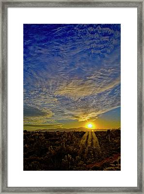 Framed Print featuring the digital art Southwest Sunset Op40 by Mark Myhaver