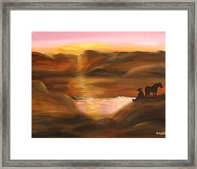 Southwestern Desert Sunset Framed Print by Aleta Parks