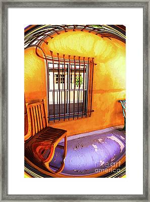 Southwestern Porch Distortion With Puple Floor Framed Print