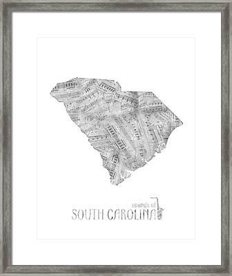 Soutih Carolina Map Music Notes Framed Print