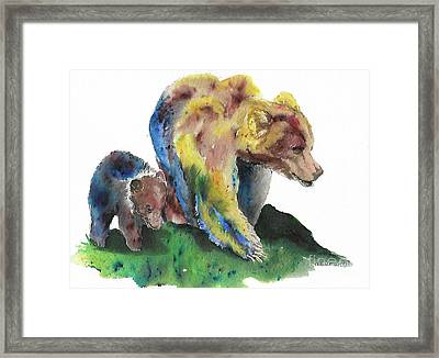 Sow And Cub Framed Print by Tracey Hunnewell