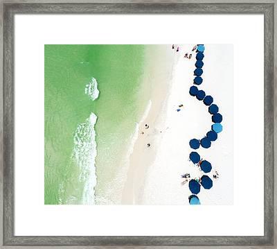 Sowal Beach Umbrellas Aerial Framed Print