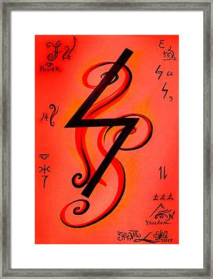 Sowilo Rune, Magical Symbol Framed Print by Sofia Metal Queen