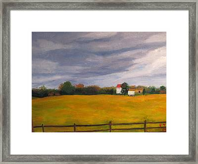 Soybean Field In Late Fall Framed Print by Gloria Condon