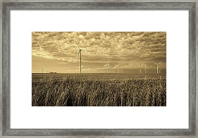Soybeans And Turbines Framed Print by Mountain Dreams