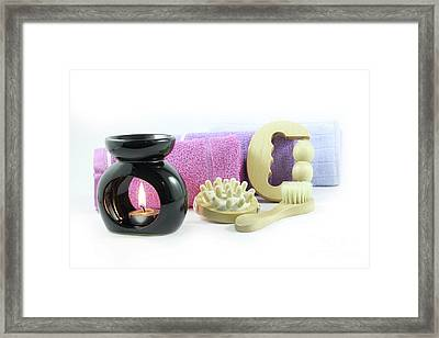 Spa Elements, Isolated On White Framed Print