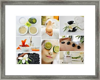Spa Massage Facial Collage Framed Print by Serena King