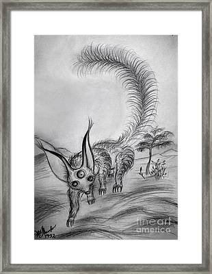 Space Alien -pig-size Squirrel Framed Print by Sofia Metal Queen