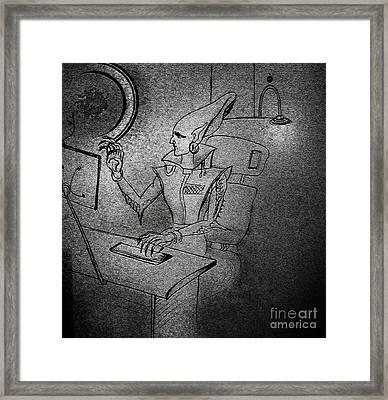Space Alien Scientist In Laboratory Framed Print