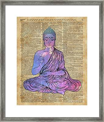 Space Buddha Dictionary Art Framed Print by Joanna and Jacob Kuch