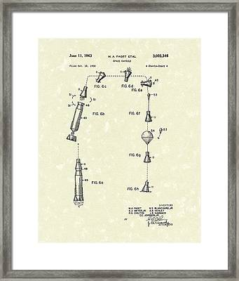 Space Capsule 1963 Patent Art Framed Print by Prior Art Design