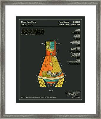 Space Capsule Patent 1963 Framed Print by Jazzberry Blue